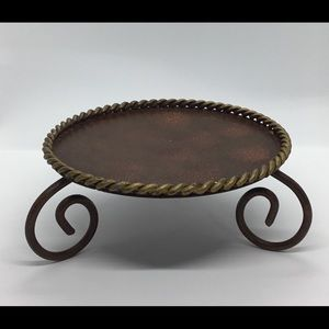Candle Holder/Stand Braided Flat Bronze/Gold Metal